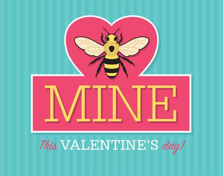 be mine: Valentine emblem with bee.