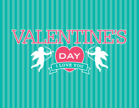 Valentine emblem with cupids and heart Illustration