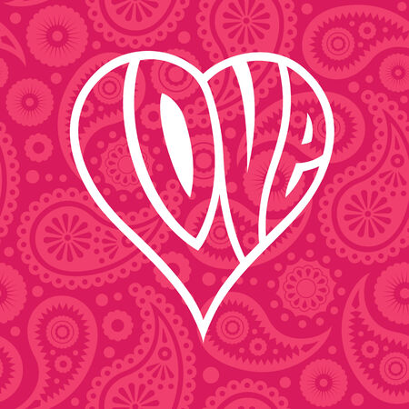 Love heart on seamless paisley background  イラスト・ベクター素材