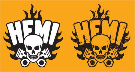 Hemi Skull and Pistons with grunge option