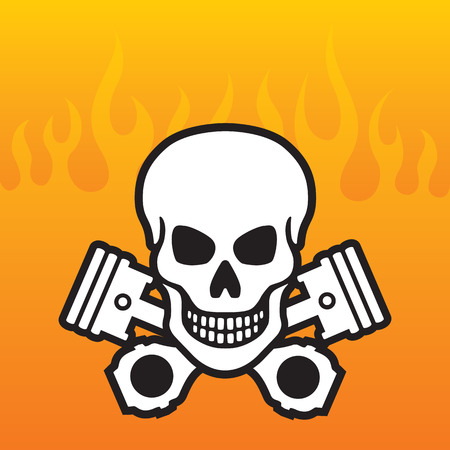 Skull and Crossed Pistons with flame background Vector
