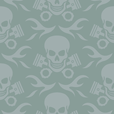 Seamless vector background pattern of skulls and crossed pistons with flames  Vector