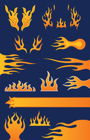 Set of 13 Hot-Rod Style Flame Vector Design Elements Ilustração