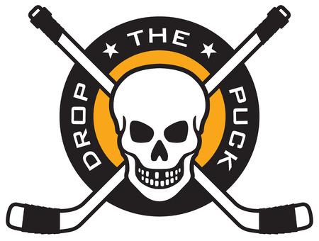 Hockey emblem with skull and crossed hockey sticks over puck with the words Drop The Puck. Easy to edit and scalable vector illustration. Great for shirts. team mascots, posters, etc.