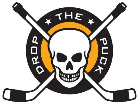 Hockey embleem met schedel en gekruiste hockeysticks boven puck met de woorden Drop The Puck. Gemakkelijk te bewerken en schaalbare vector illustratie. Geweldig voor overhemden. team mascottes, posters, enz. Stock Illustratie