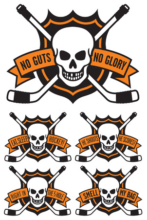 Hockey emblem with skull and crossed hockey sticks. Includes 5 different hockey themed slogans: No Guts No Glory.  Eat, Sleep, Hockey.  He Shoots, He Scores.  Right In The FIve Hole.  Smell My Bag. Easy to edit vector