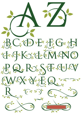 alphabet tree: Ornate Swash Alphabet with Leaves