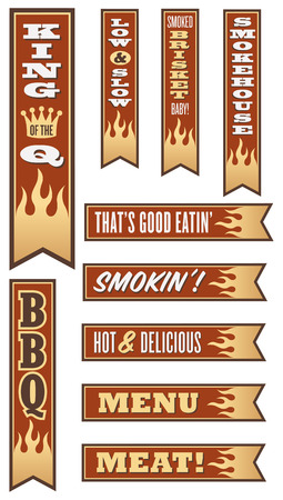 slow food: Set di 10 Barbecue Banner con le fiamme
