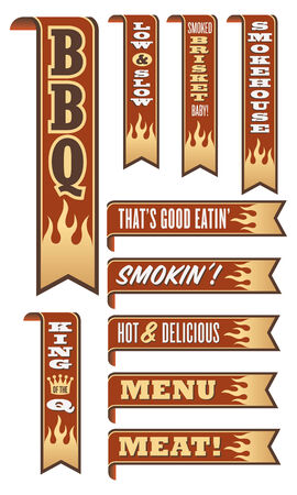 Set of 10 Barbecue Banners with flames Illustration
