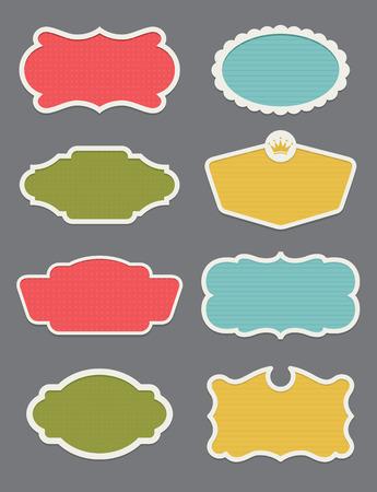 Set of 8 frame or label vector design elements Illusztráció