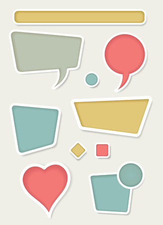 Set of retro frame vector design elements including buttons, and speech bubbles.