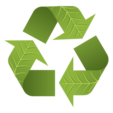 Leaf Recycle Logo. The iconic Recycle Logo with 3D leaf texture.