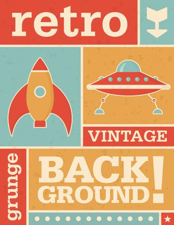 platillo volador: Diseño de la plantilla de fondo retro con ilustraciones e iconos de espacio. Gráfico vectorial con textura grunge. Vectores