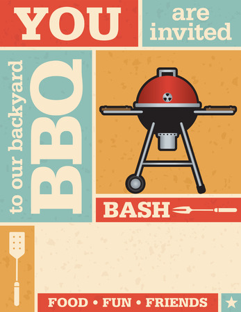 Retro Barbecue Party Invitation. Vector design with grunge texture. Çizim