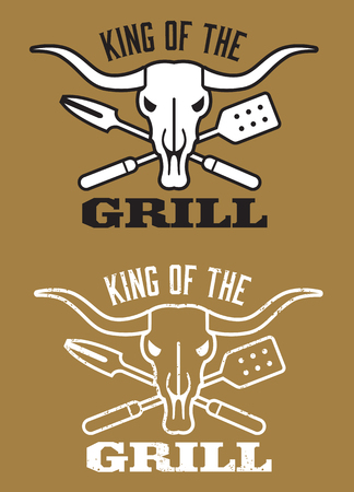 steer: King of the Grill barbecue vector image with cow skull and crossed utensils. Includes clean and grunge versions.