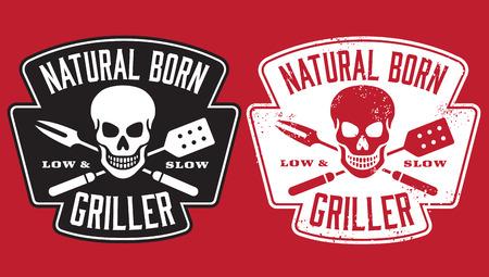 Natural Born Griller barbecue vector afbeelding met schedel en gekruiste keukengerei. Omvat schoon en grunge versies.
