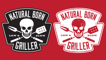 fork: Natural Born Griller barbecue vector image with skull and crossed utensils. Includes clean and grunge versions.