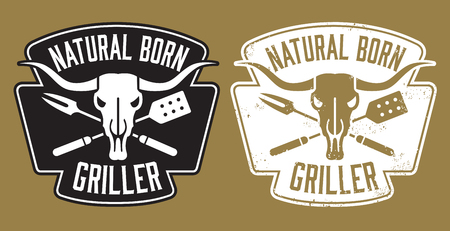 Natural Born Griller barbecue vector image with cow skull and crossed utensils. Includes clean and grunge versions. 일러스트