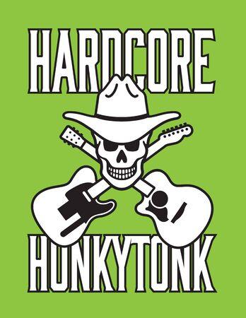 country music: Hardcore Honkytonk Skull Vector Design