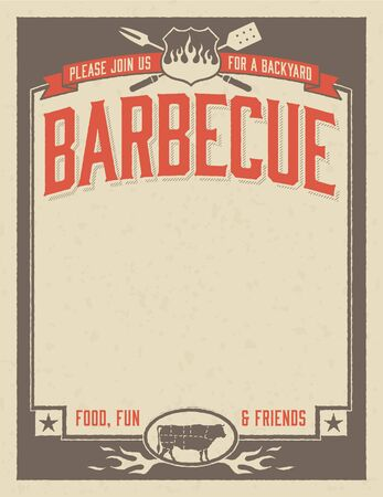 pork meat: Backyard Barbecue Invitation Template Illustration