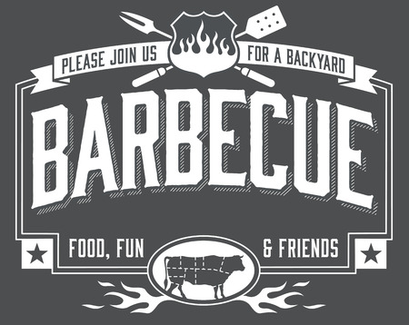 party animals: Backyard Barbecue Invitation with chalkboard look. Easy to edit vector file.