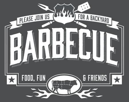 Backyard Barbecue Invito con sguardo lavagna. Facile da modificare file vettoriale.