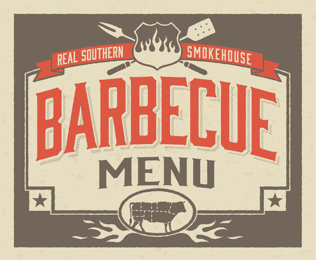 party animal: Real Southern Barbecue Menu Design