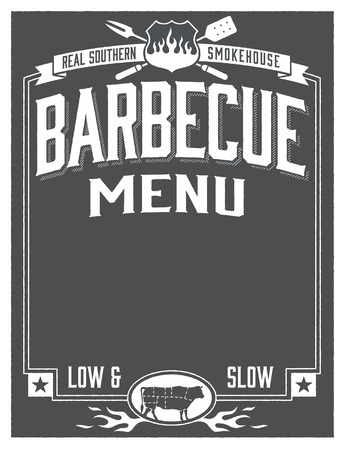 Real Southern Barbecue Template Menu Stock Illustratie