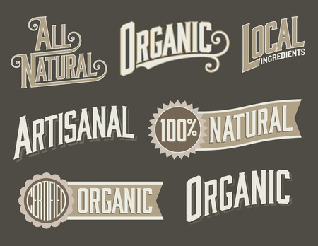 Set of 6 Organic, Natural Food Labels with vintage look