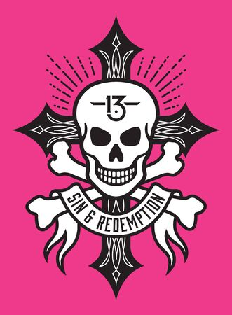 redemption: Vector illustration of skull and bones over cross with hot rod pinstriping. Also features 13 tattoo and sin and redemption banner.