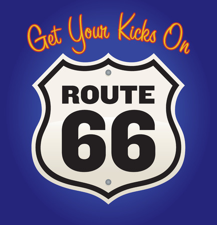 routes: Get Your Kicks On Route 66 vintage road sign illustration.