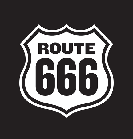 routes: illustration of vintage Route 666 Number of the Beast road sign.