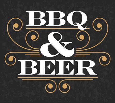 Dekorative BBQ Bier-Design auf Grunge Hintergrund. Vektorgrafik
