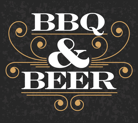 Decorative BBQ  Beer design on grunge background.