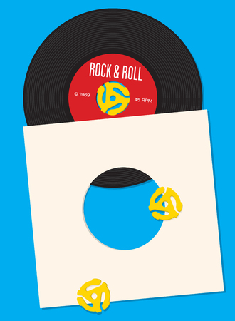 spindle: Vinyl Record Design Template. design featuring illustration of 45 rpm single record with record insert spindle adapters. Great template for party invitation.