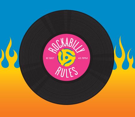 Rockabilly reglas de diseño que ofrece el ejemplo de registro de 45 rpm solo registro con el adaptador del eje de inserción de registro y las palabras Reglas del Rockabilly.