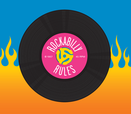 in insert: Rockabilly Rules Record Design featuring illustration of 45 rpm single record with record insert spindle adaptor and the words Rockabilly Rules. Illustration