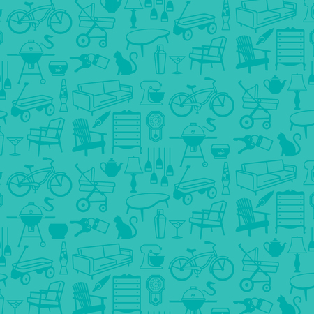 fixtures: Seamless pattern of Retro Home Icons of common household items including furniture and fixtures. Illustration