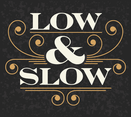 Low and Slow Barbecue Decorative design with grunge background.  Illusztráció
