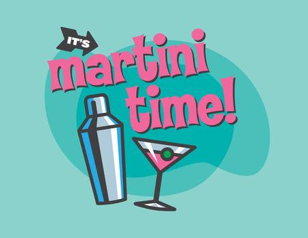 Martini Time Retro design of cocktail shaker and martini glass.