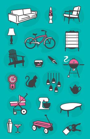 Reeks retro iconen van gemeenschappelijke huishoudelijke artikelen inclusief meubilair en armaturen.