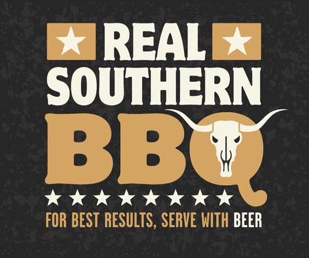 Diseño Barbacoa Sur real con el cráneo de vaca, las estrellas y la frase Para mejores resultados, Servir con la cerveza en el fondo del grunge.