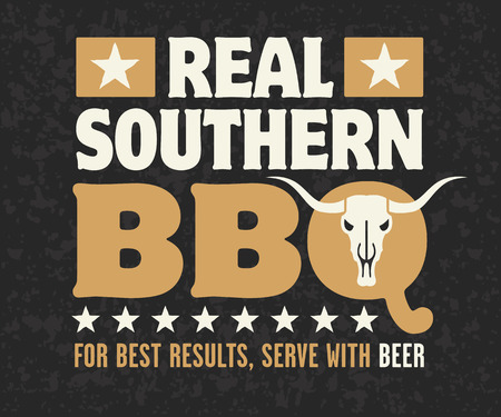 cow skull: Real Southern Barbecue design with cow skull, stars and the phrase For Best Results, Serve With Beer on grunge background.