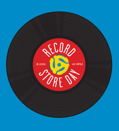 Record Store Day design featuring illustration of 45 rpm single record with record insert spindle adapters Иллюстрация