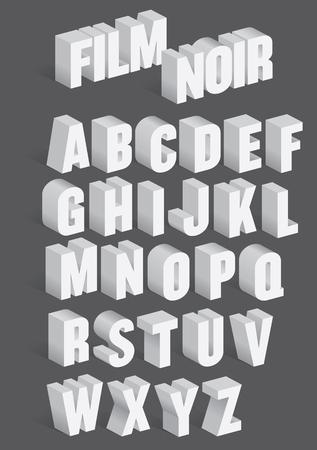 Three Dimensional Retro Alphabet met schaduwen geïnspireerd door oude film kokos filmtitels.