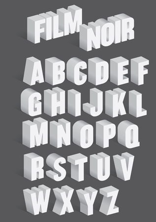 Tridimensional Retro Alfabeto con sombras inspiradas en títulos de películas viejas de la película de fibra de coco.