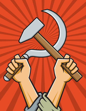 Communist: Hammer and Sickle Vector Illustration in the style of Russian Constructivist Propaganda posters. Illustration