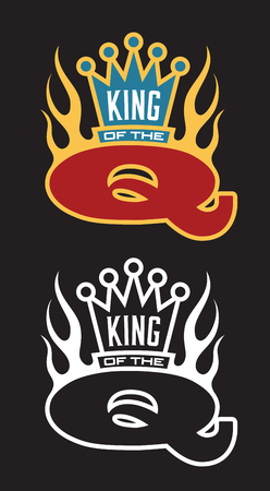 King of the Q Barbecue emblem with crown and flames.