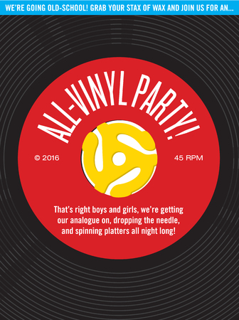 All-Vinyl Record Party Invitation.  Vector design featuring 45 rpm single record with record insert spindle adaptors for party invitation.