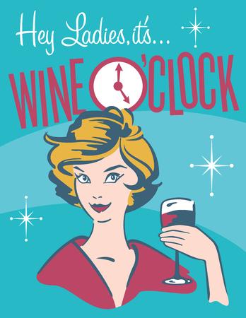 inn: Wine O�clock retro wine design.  Vintage, retro vector illustration of pretty woman drinking wine